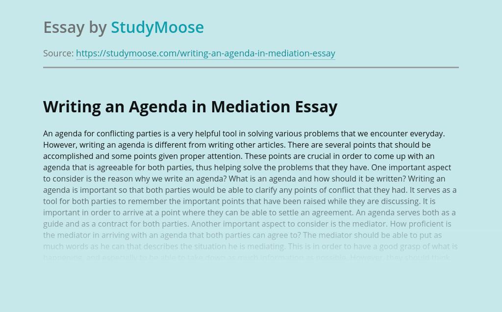Writing an Agenda in Mediation