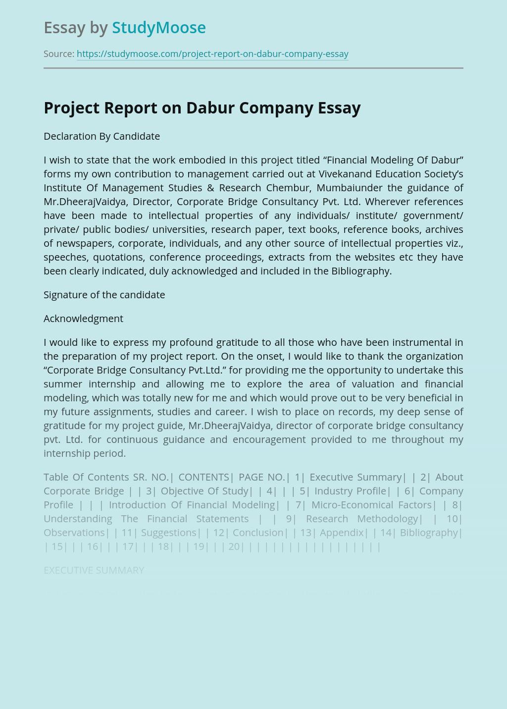 Project Report on Dabur Company