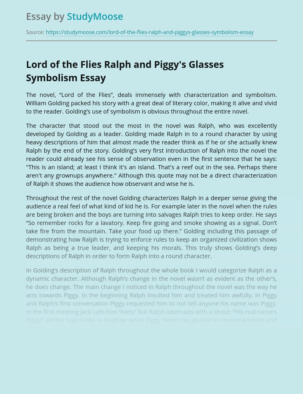 Lord of the Flies Ralph and Piggy's Glasses Symbolism