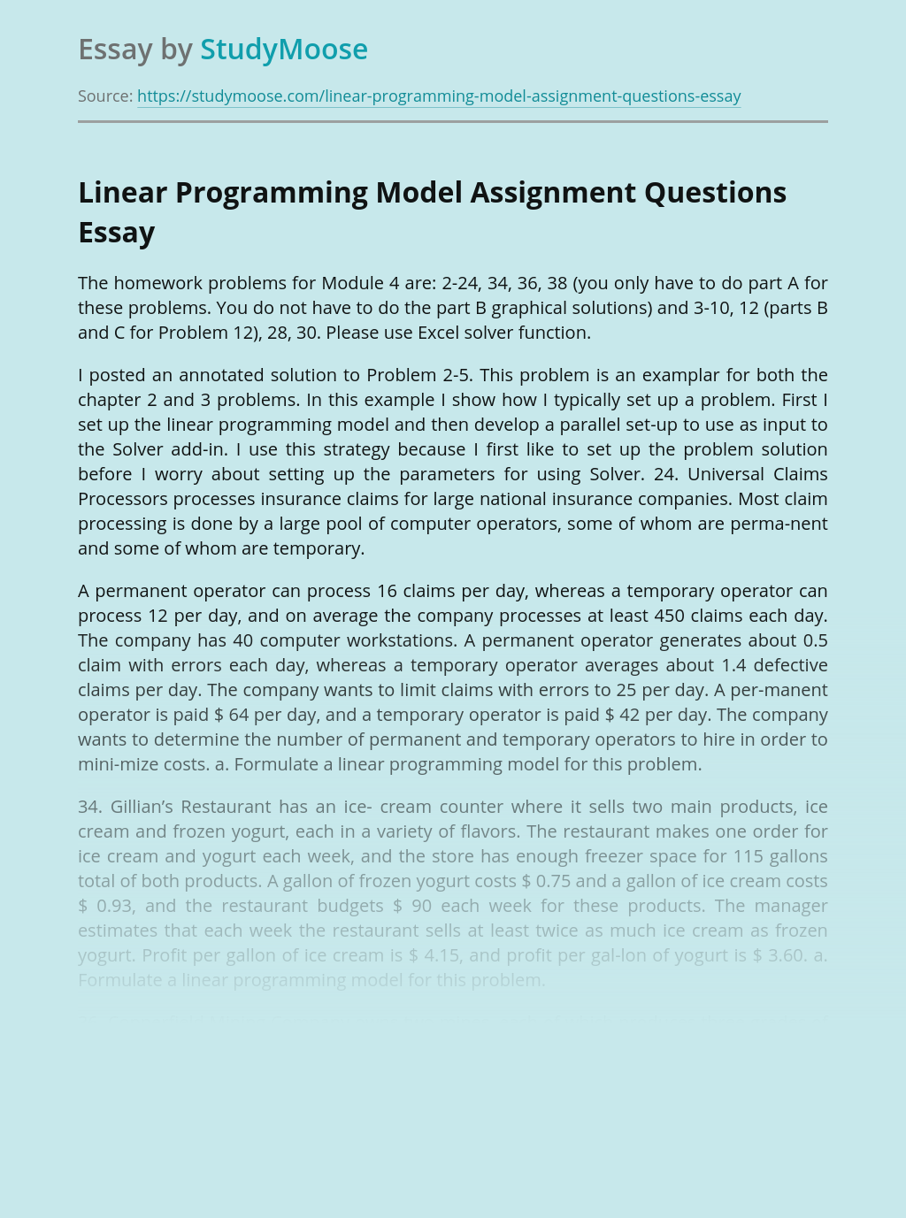 Linear Programming Model Assignment Questions