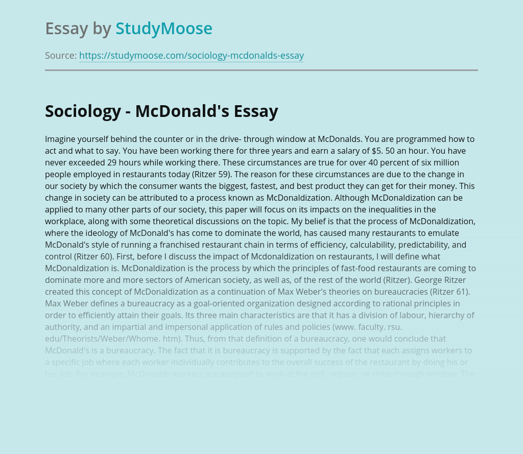 Sociology - McDonald's