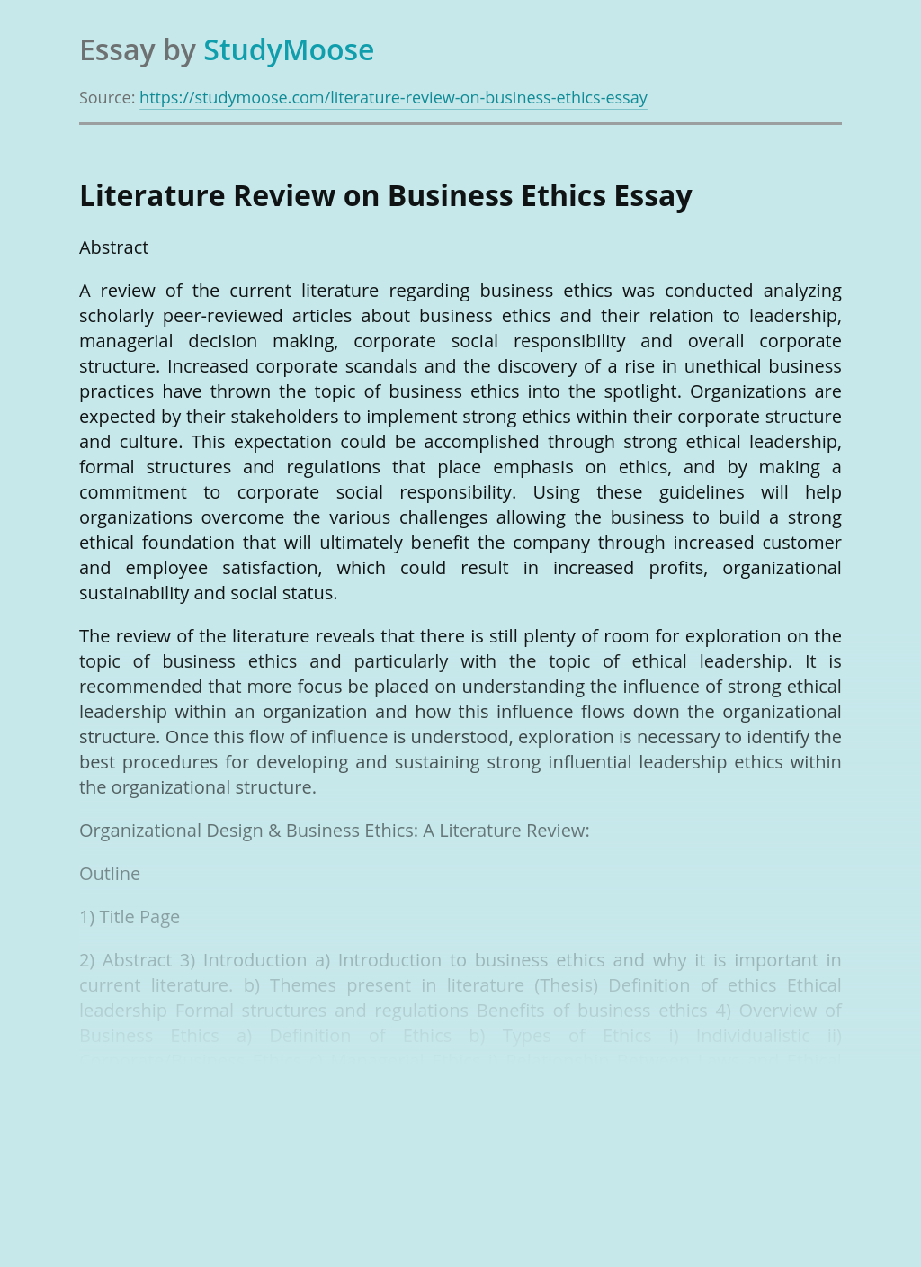 Literature Review on Business Ethics