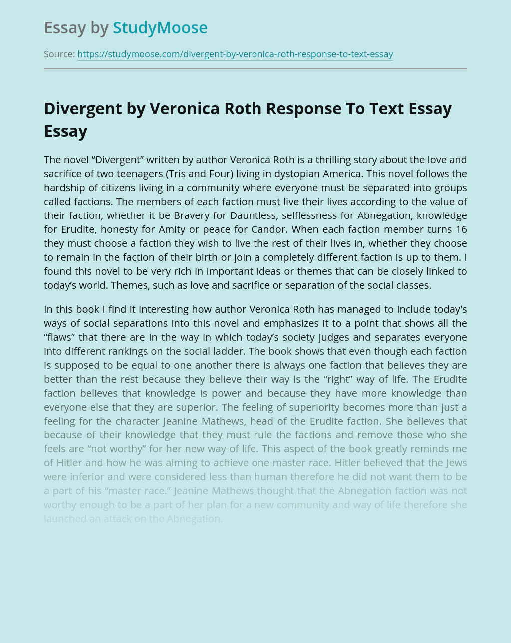 Divergent by Veronica Roth Response To Text Essay