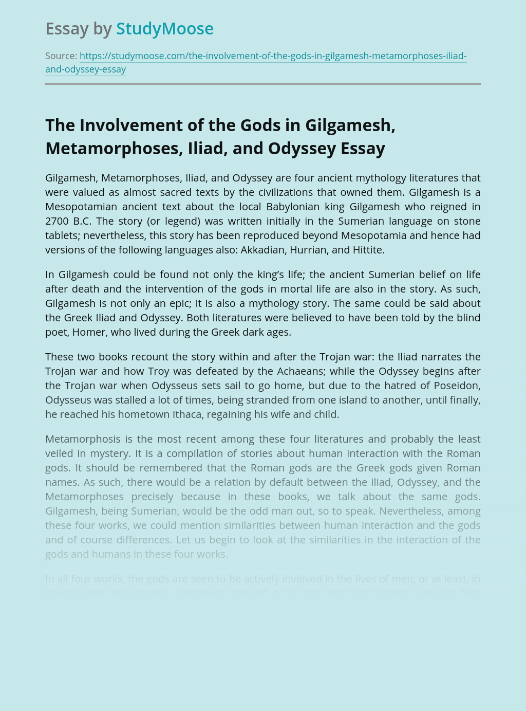 The Involvement of the Gods in Gilgamesh, Metamorphoses, Iliad, and Odyssey