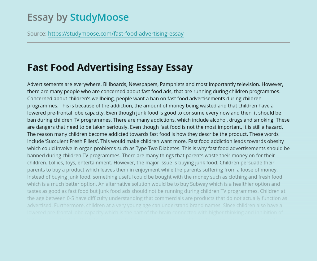 Fast Food Advertising Essay