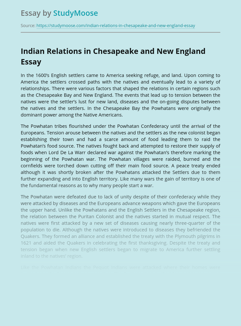 Indian Relations in Chesapeake and New England
