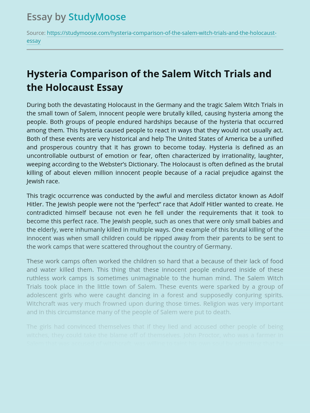 Hysteria Comparison of the Salem Witch Trials and the Holocaust