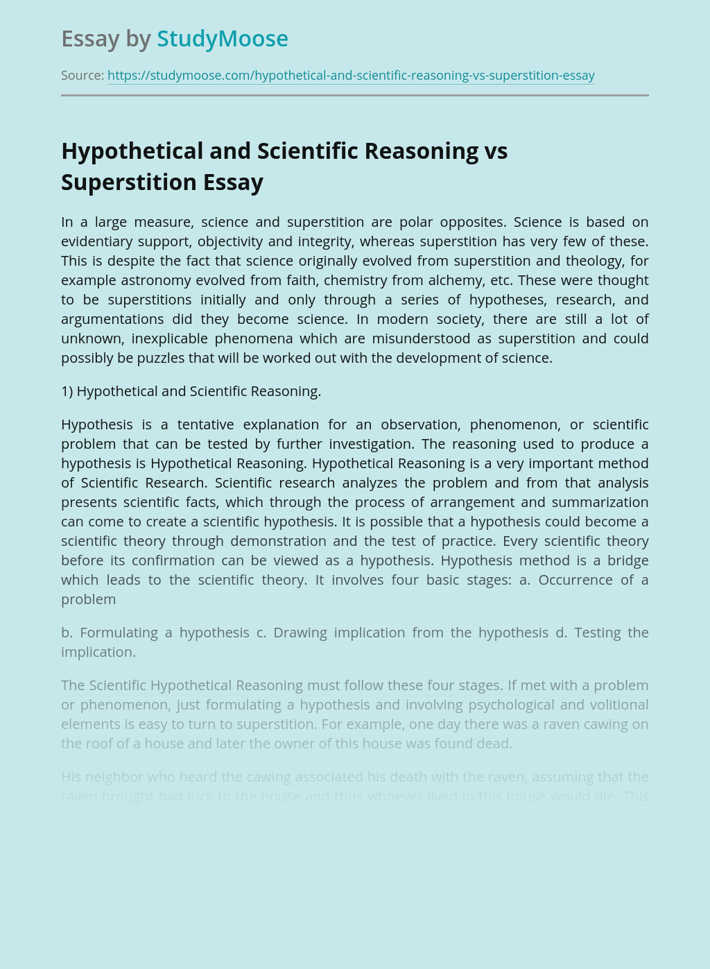 Hypothetical and Scientific Reasoning vs Superstition