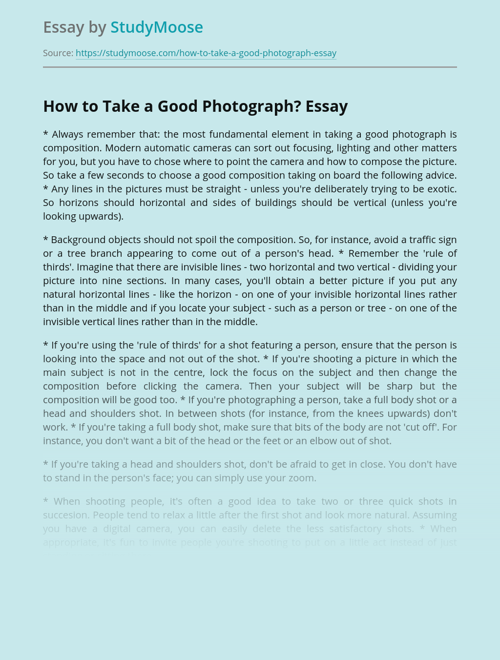 How to Take a Good Photograph?