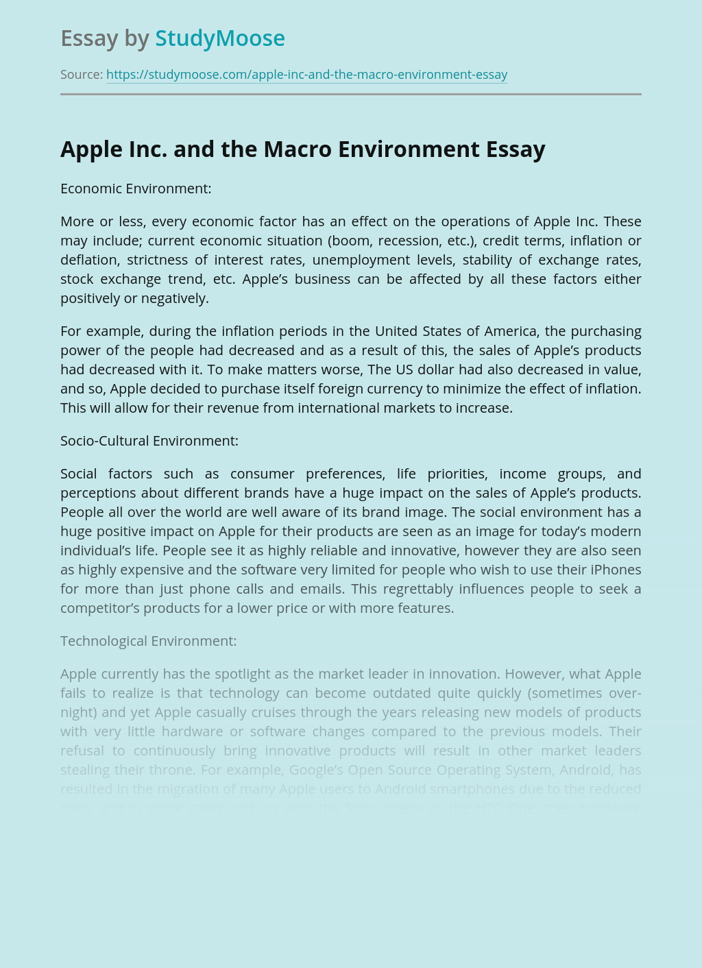 Apple Inc. and the Macro Environment