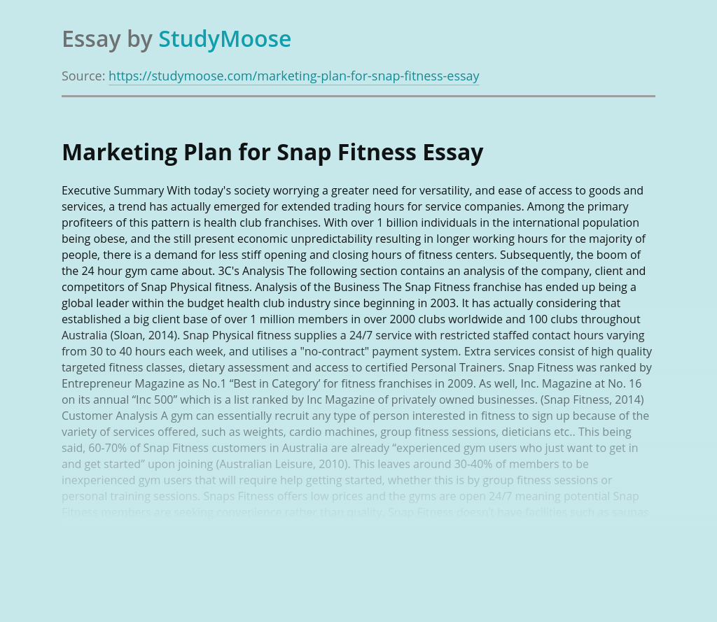 Marketing Plan for Snap Fitness