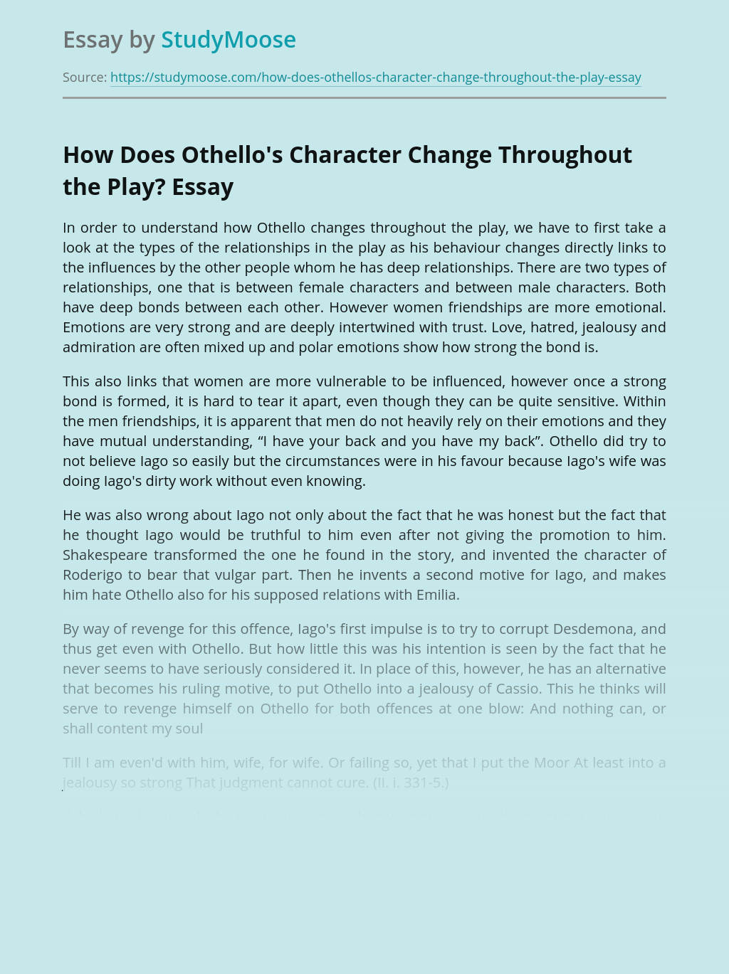 How Does Othello's Character Change Throughout the Play?