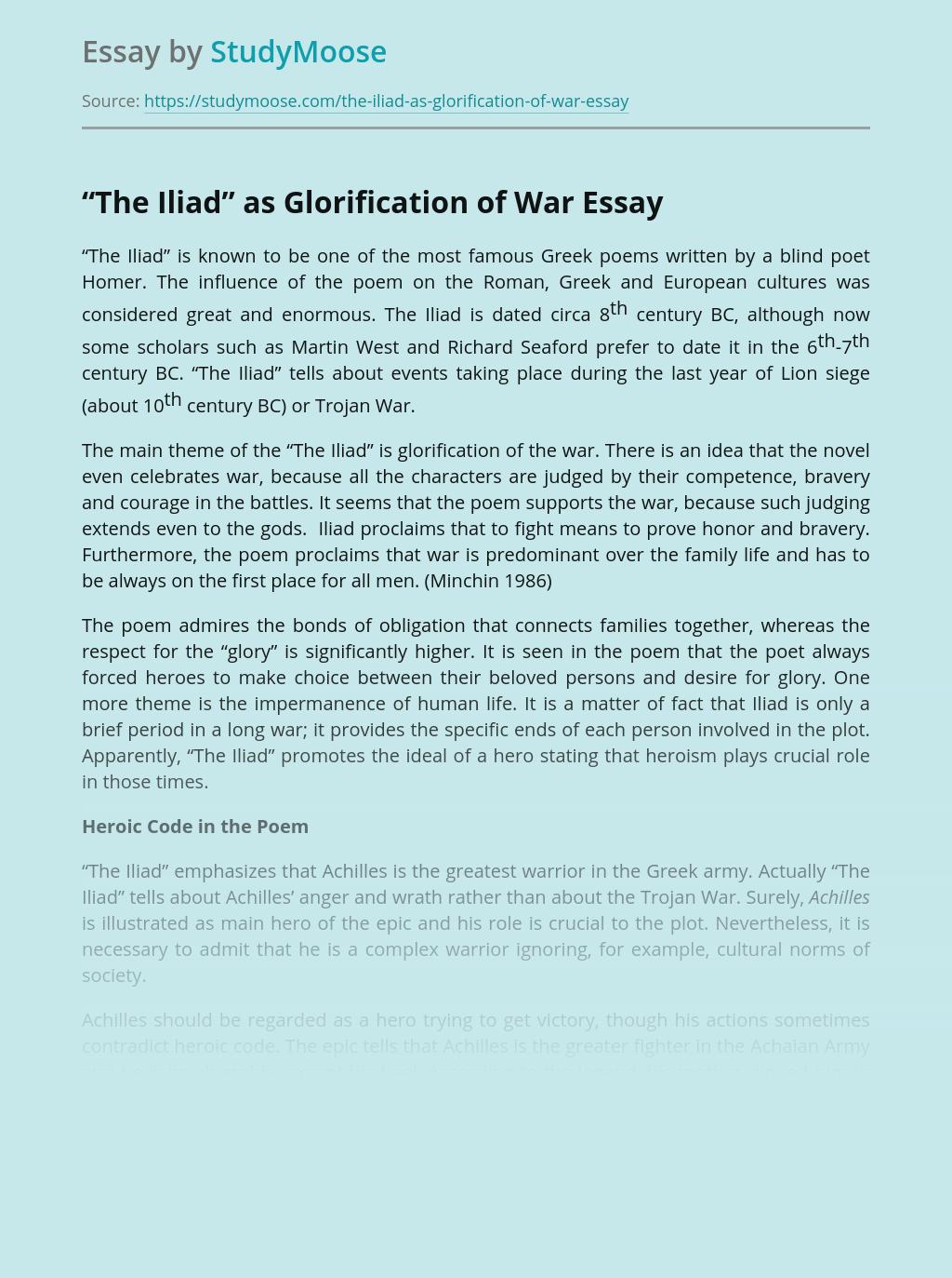 """The Iliad"" as Glorification of War"