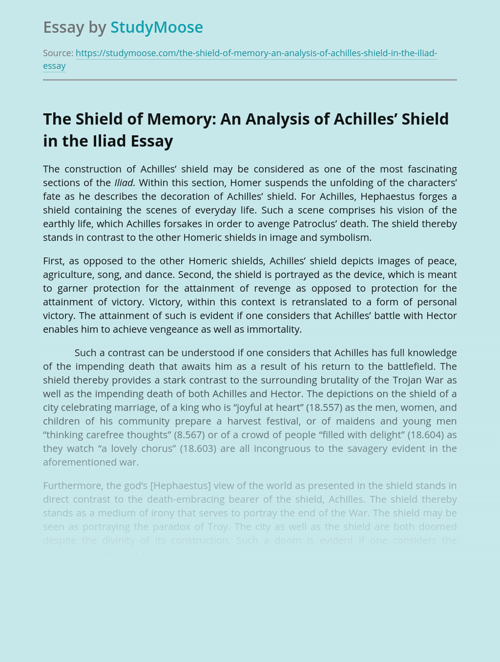 The Shield of Memory: An Analysis of Achilles' Shield in the Iliad