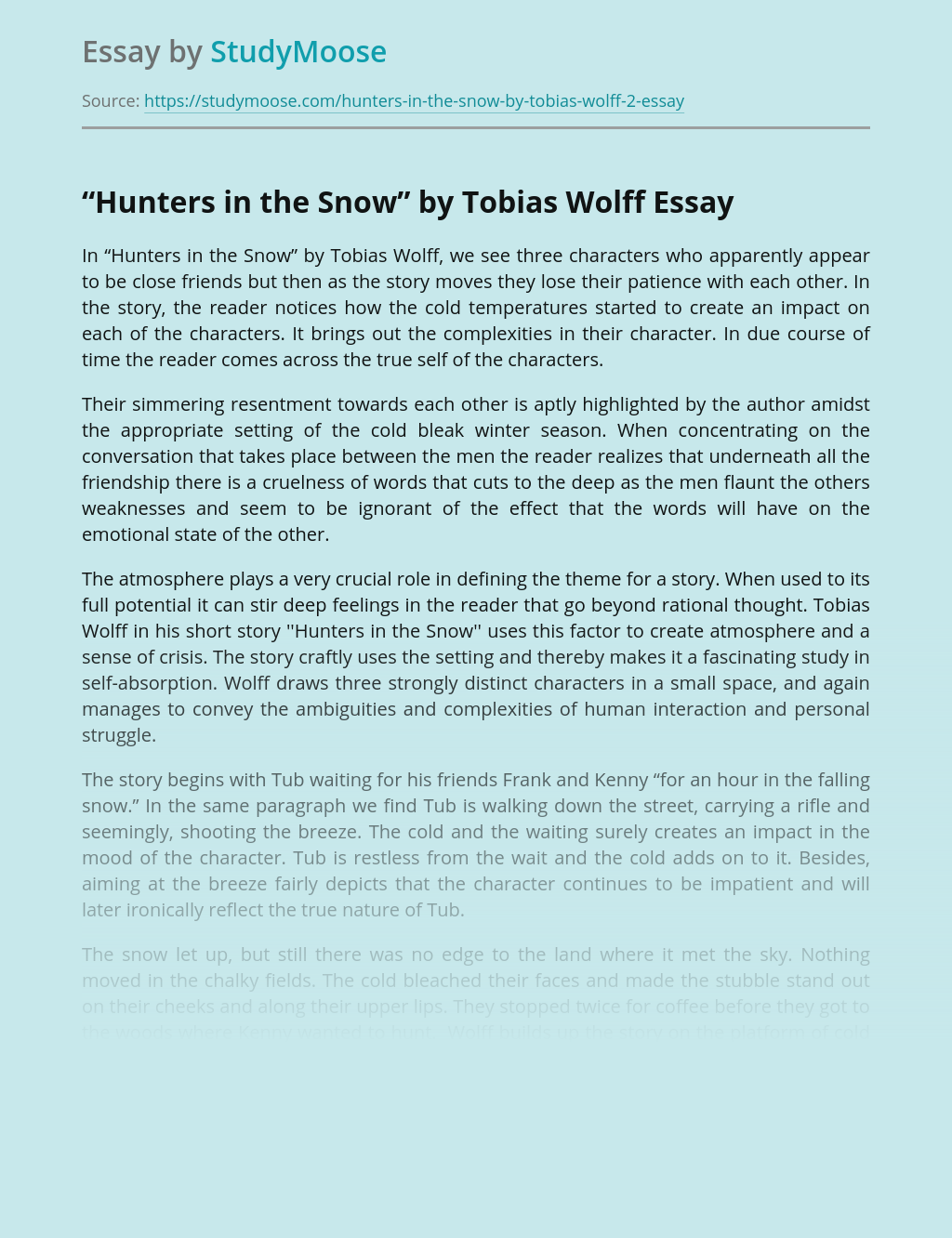 """""""Hunters in the Snow"""" Written by Tobias Wolff"""