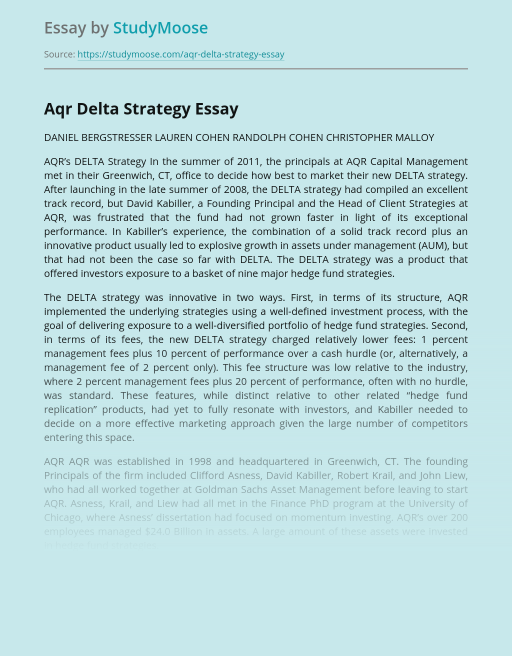 Aqr Delta Strategy