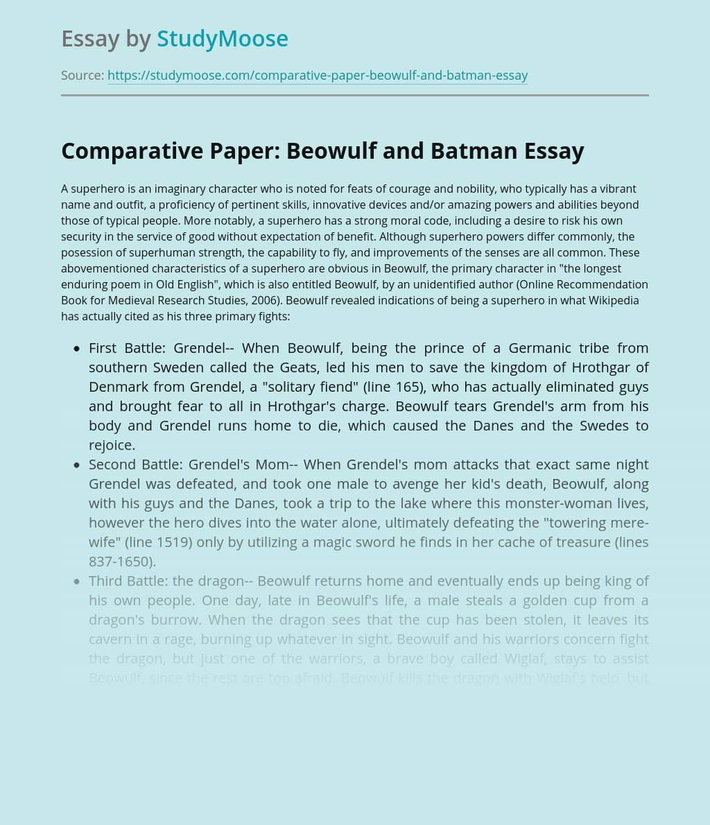 Comparative Paper: Beowulf and Batman
