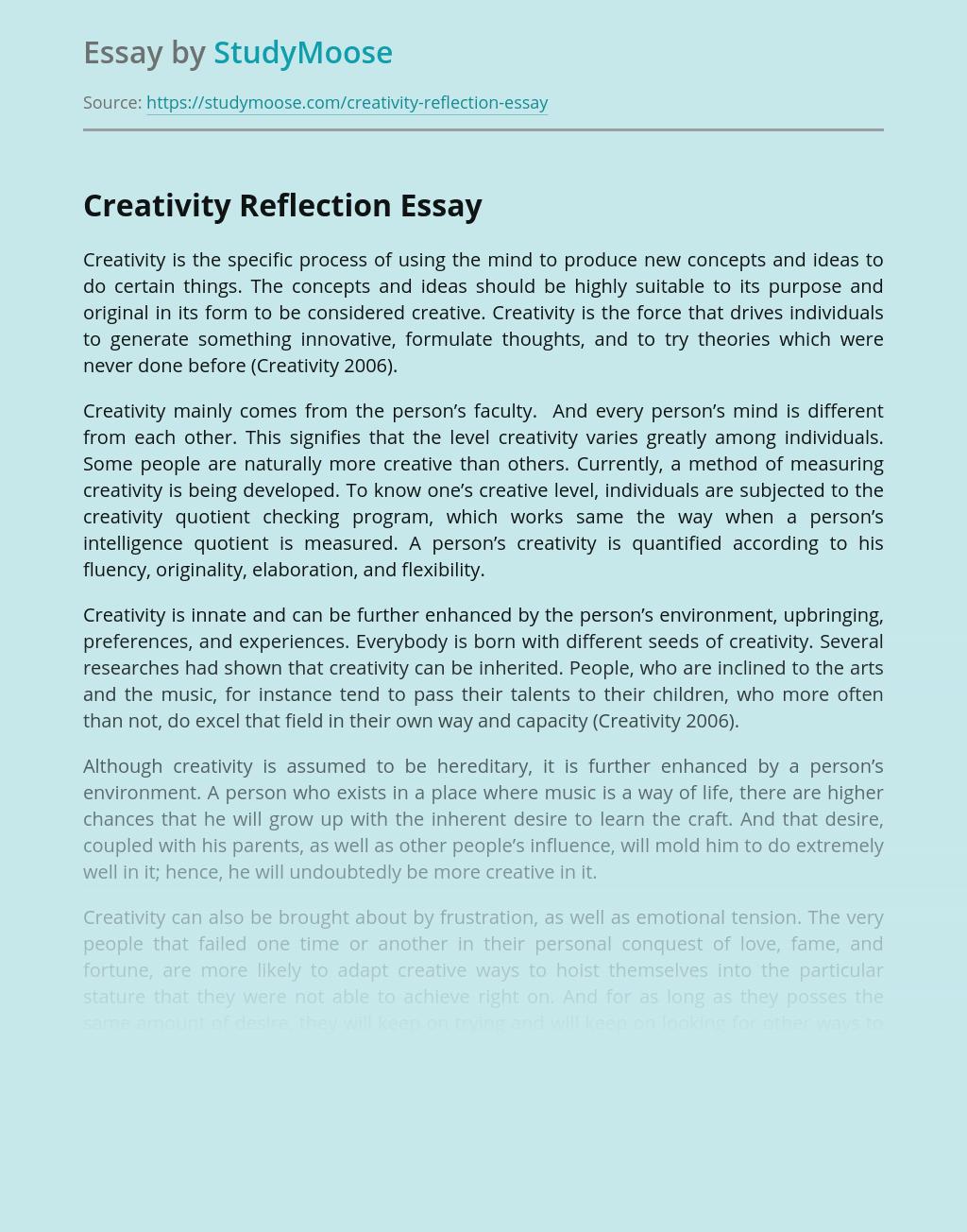 Creativity Reflection