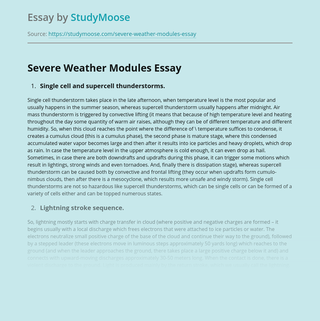 Severe Weather Modules