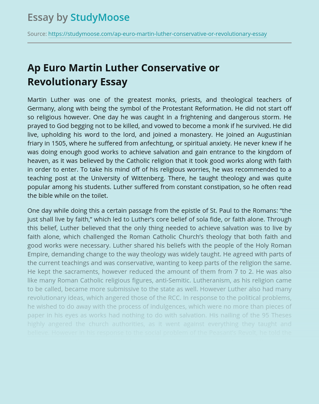 Martin Luther A Conservative Protestant Reformator
