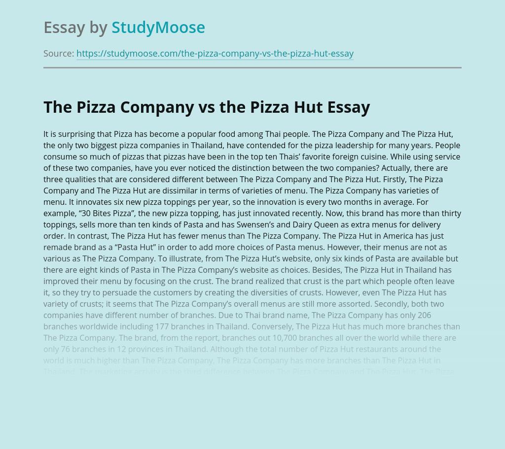 The Pizza Company vs the Pizza Hut
