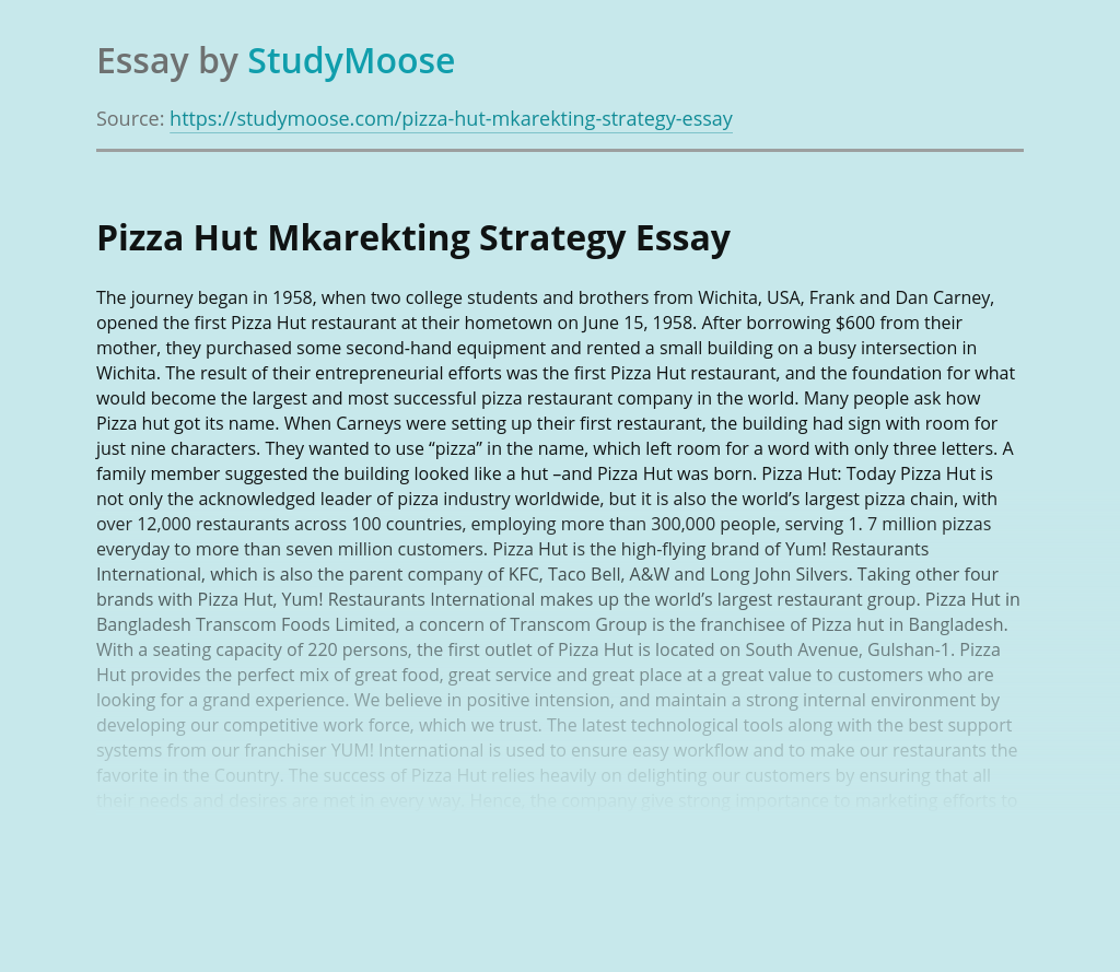 Pizza Hut Mkarekting Strategy