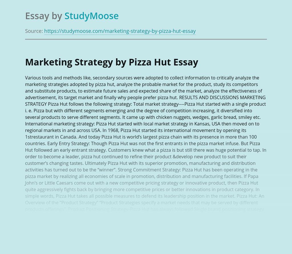 Marketing Strategy by Pizza Hut
