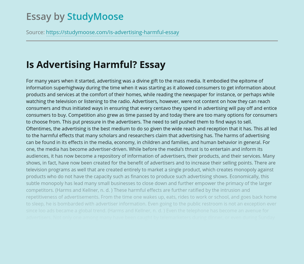 Is Advertising Harmful?