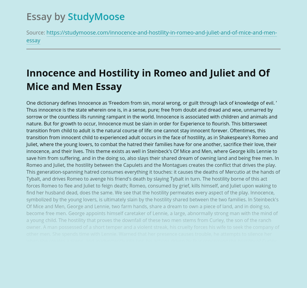 Innocence and Hostility in Romeo and Juliet and Of Mice and Men