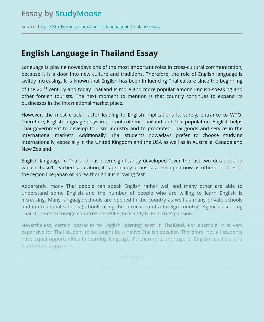 English Language in Thailand