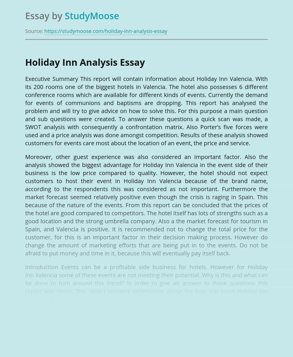 Holiday Inn Analysis