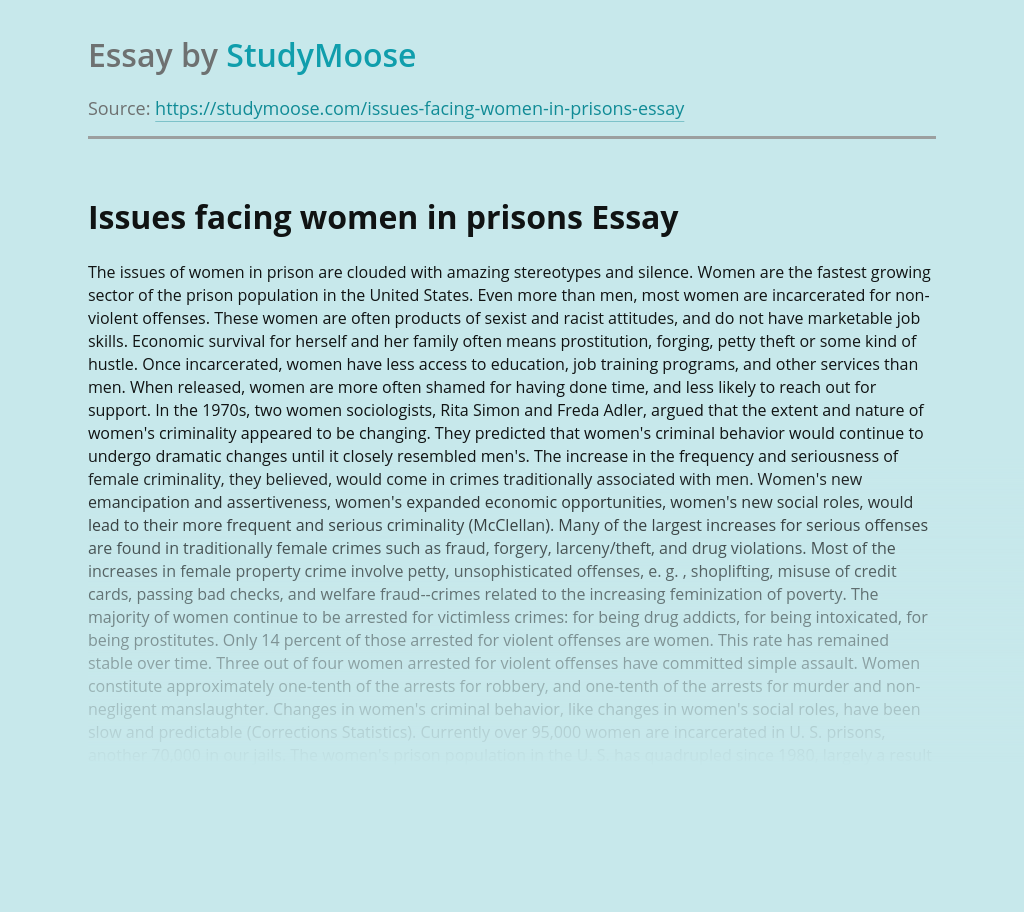 Issues facing women in prisons