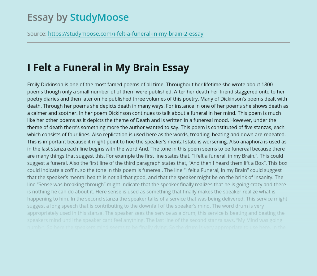 """I Felt a Funeral in My Brain"" by Emily Dickinson"