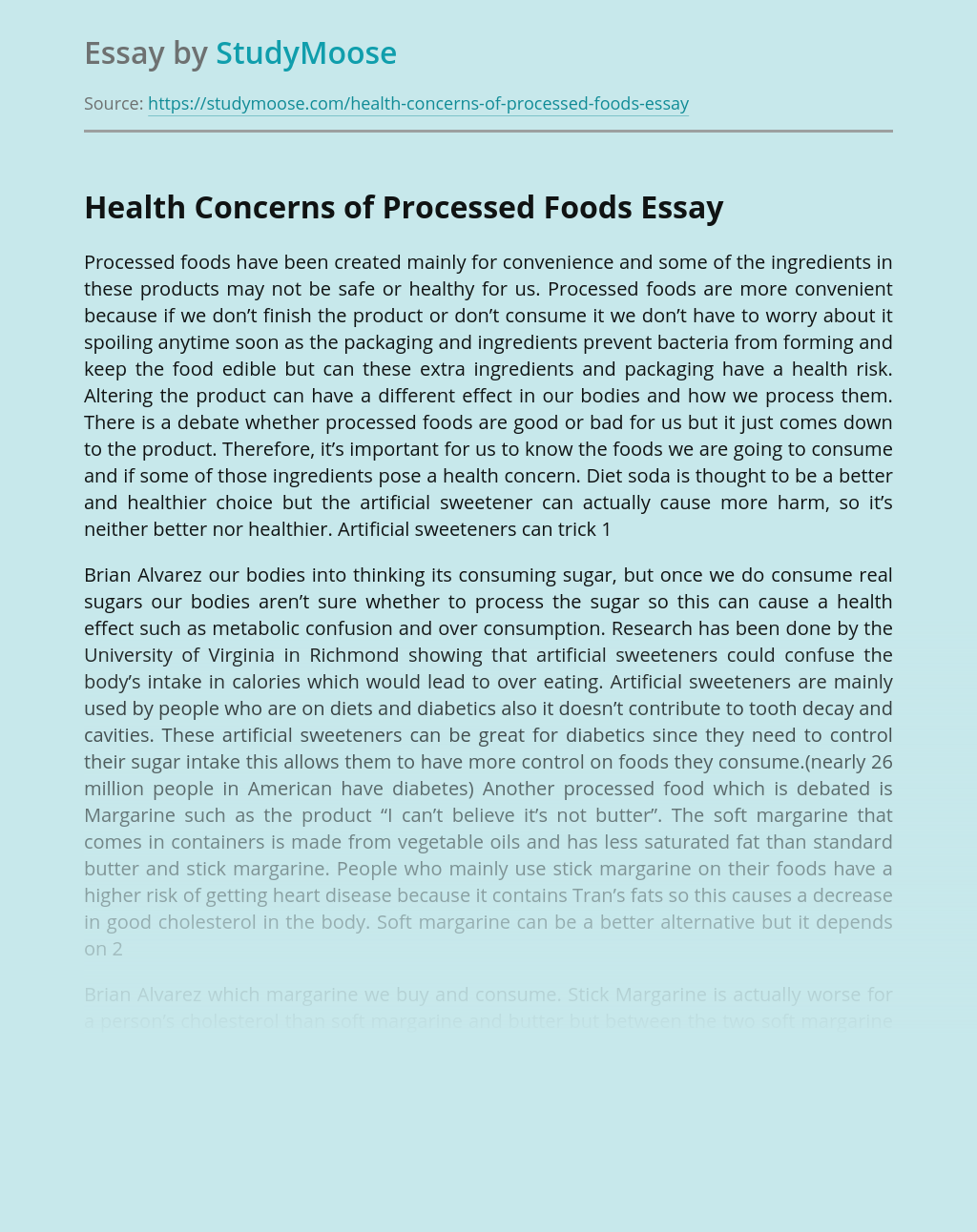 Health Concerns of Processed Foods