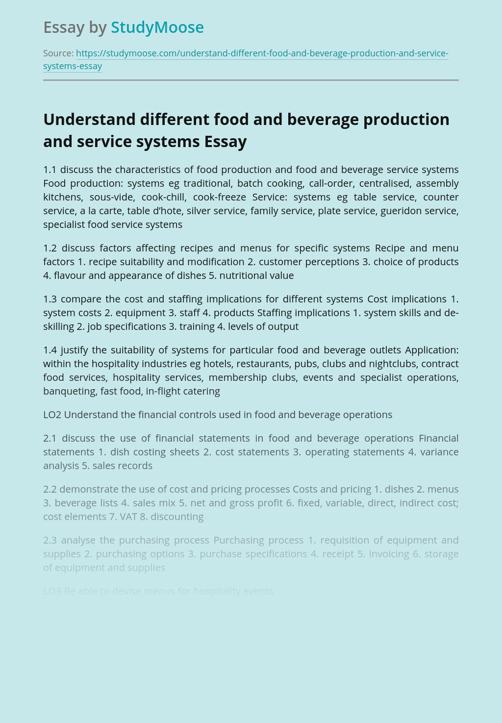 Understand different food and beverage production and service systems