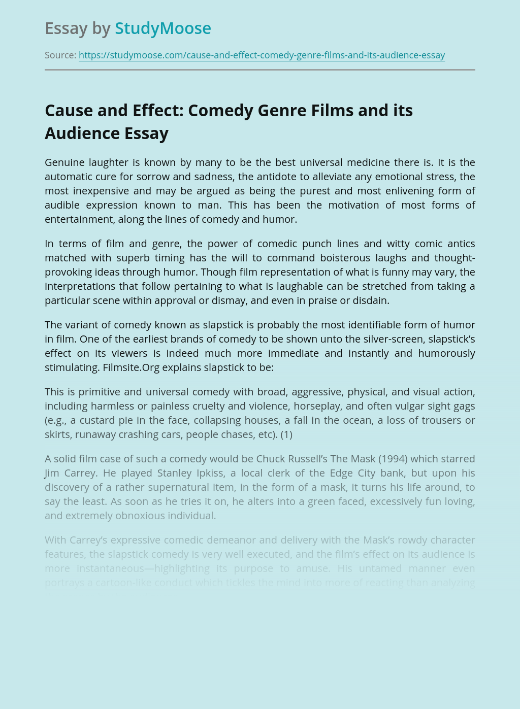 Cause and Effect: Comedy Genre Films and its Audience
