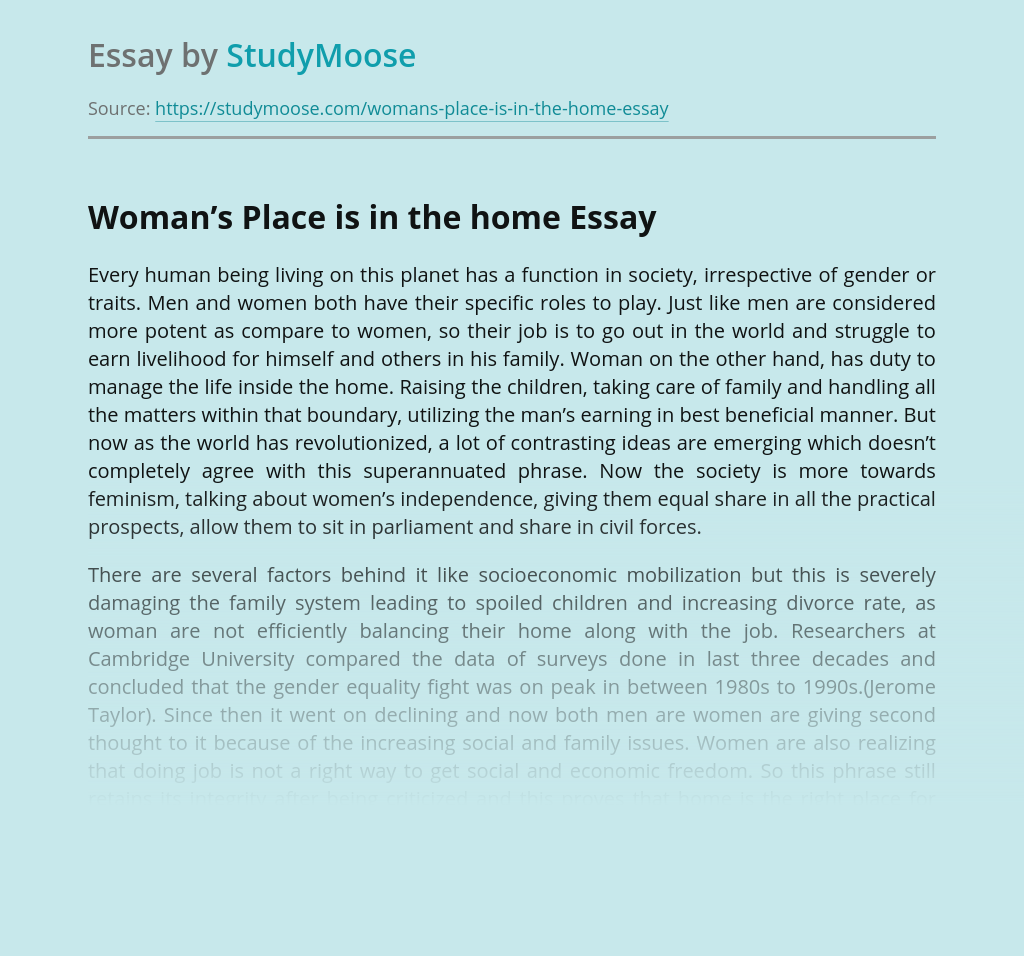 Family in Woman's Place Is in the Home