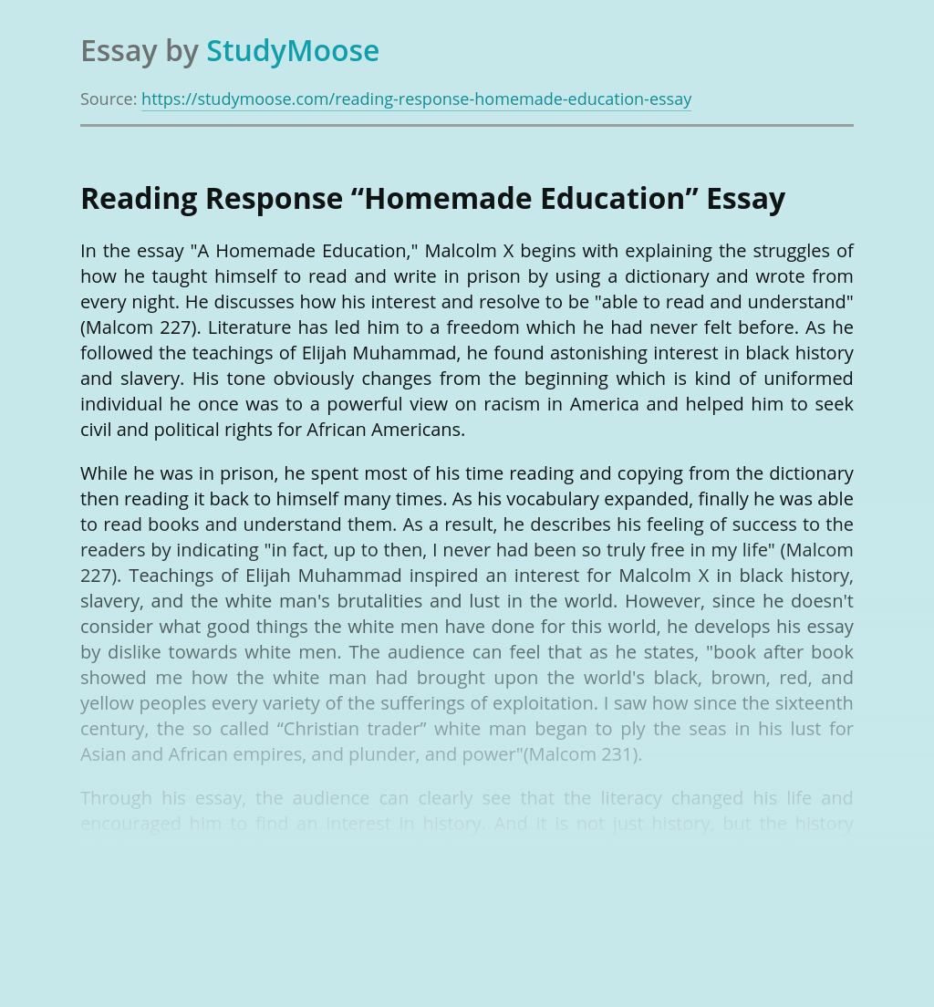 "Reading Response to ""Homemade Education"""
