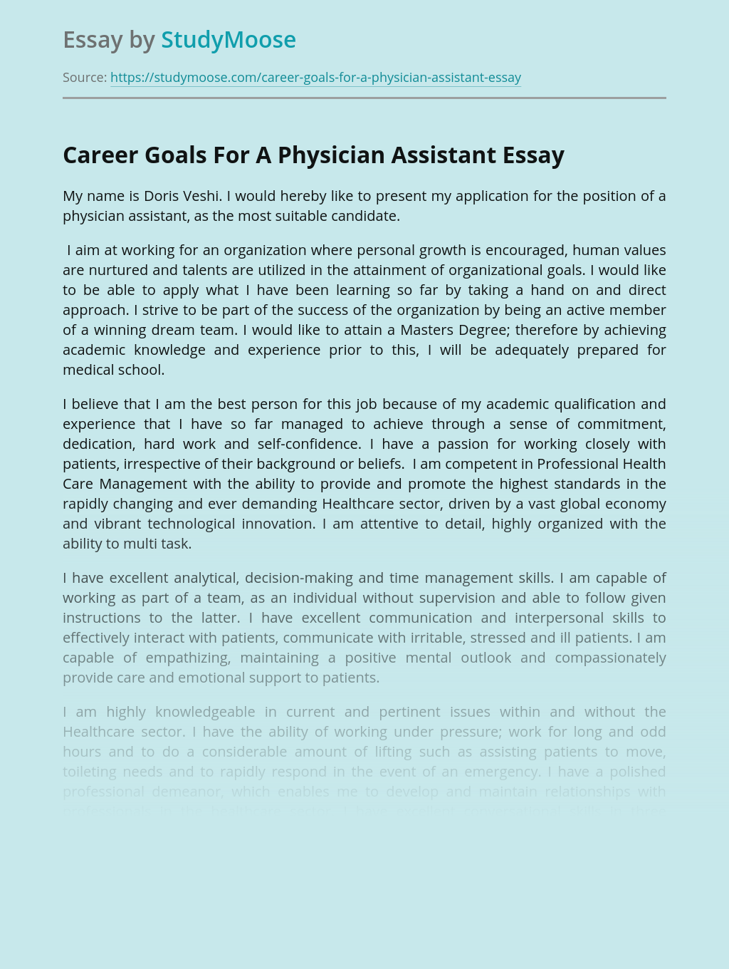 Career Goals For A Physician Assistant
