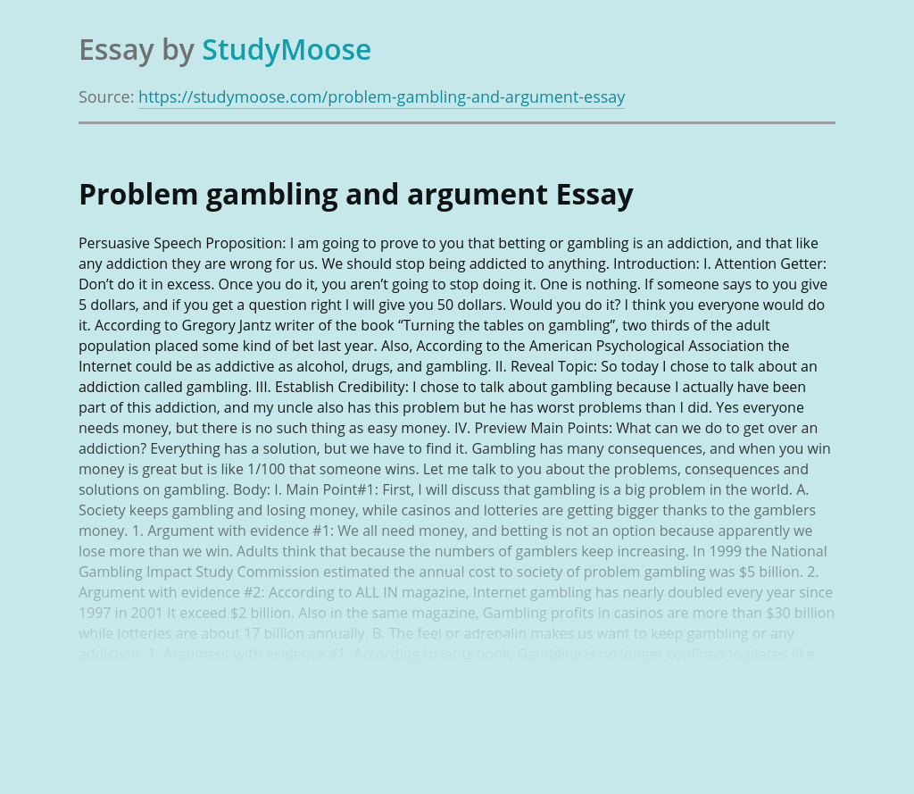 Problem gambling and argument