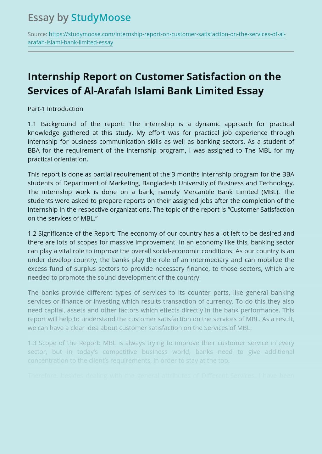 Internship Report on Customer Satisfaction on the Services of Al-Arafah Islami Bank Limited