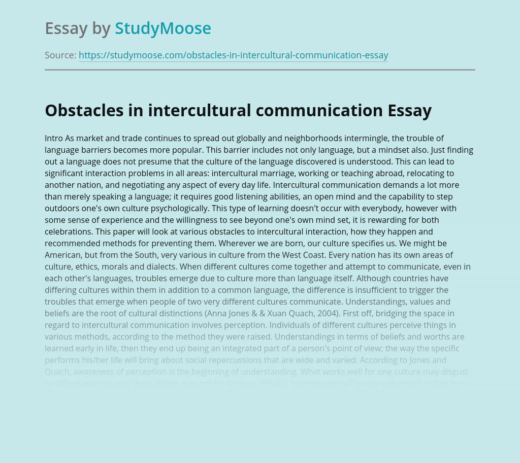 Obstacles in intercultural communication