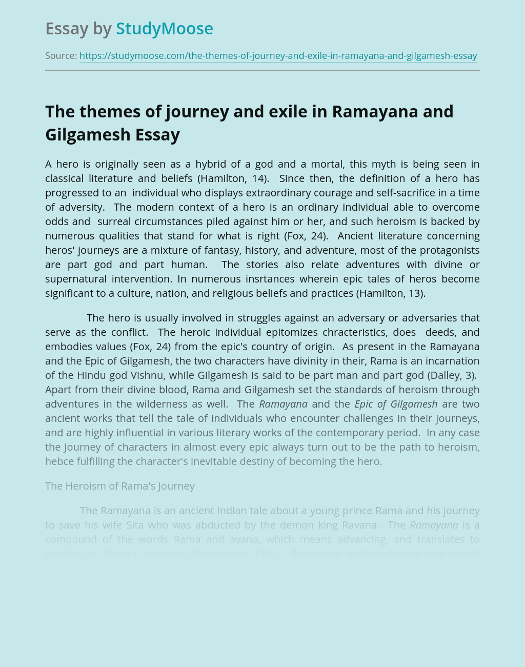 The themes of journey and exile in Ramayana and Gilgamesh