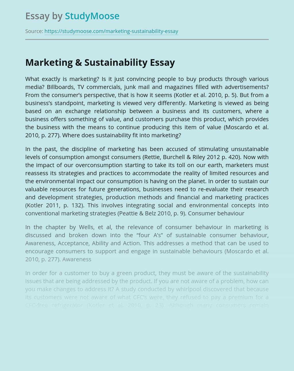 Marketing & Sustainability