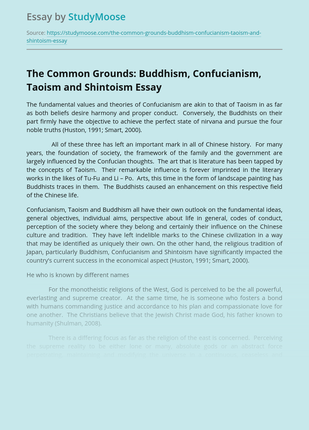 The Common Grounds:  Buddhism, Confucianism, Taoism and Shintoism