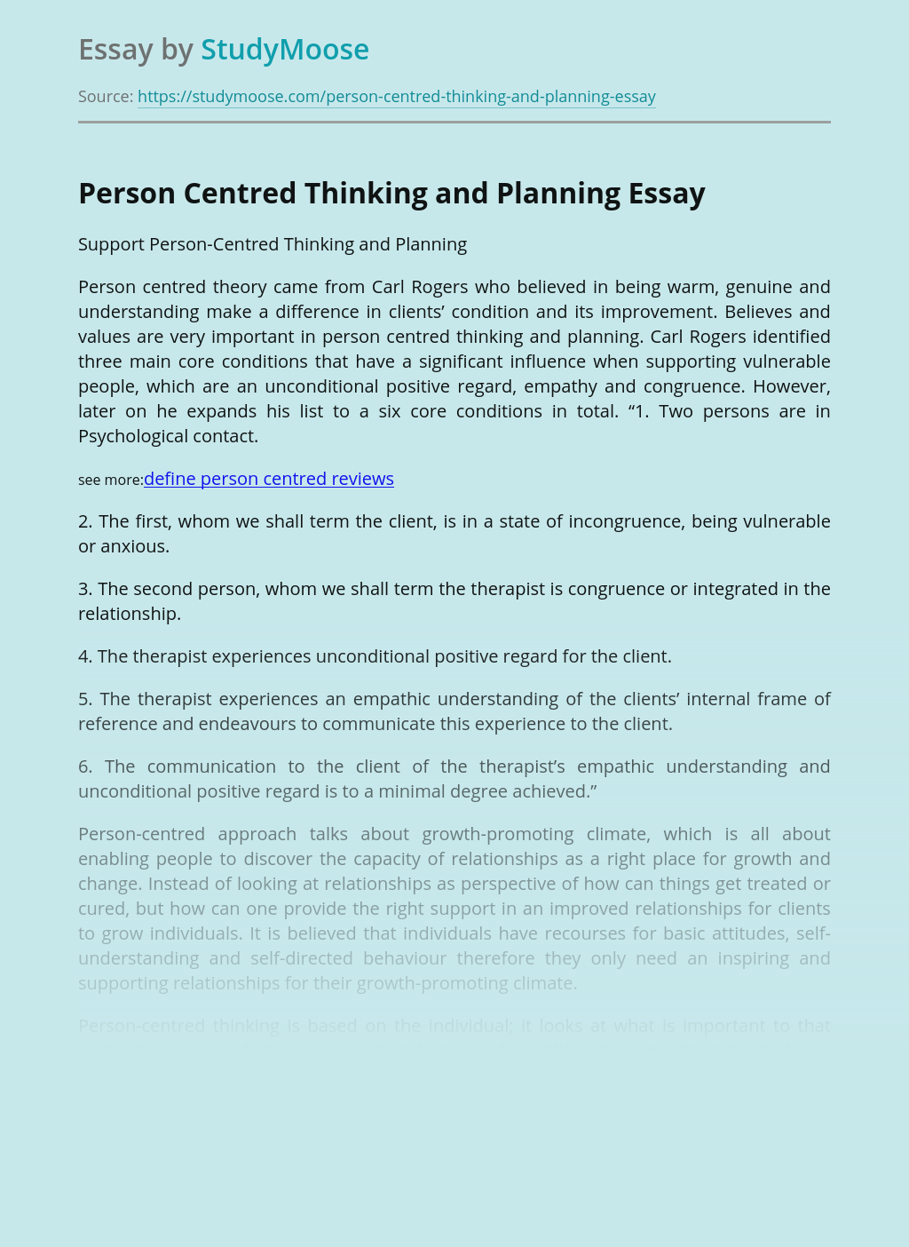 Person Centred Thinking and Planning