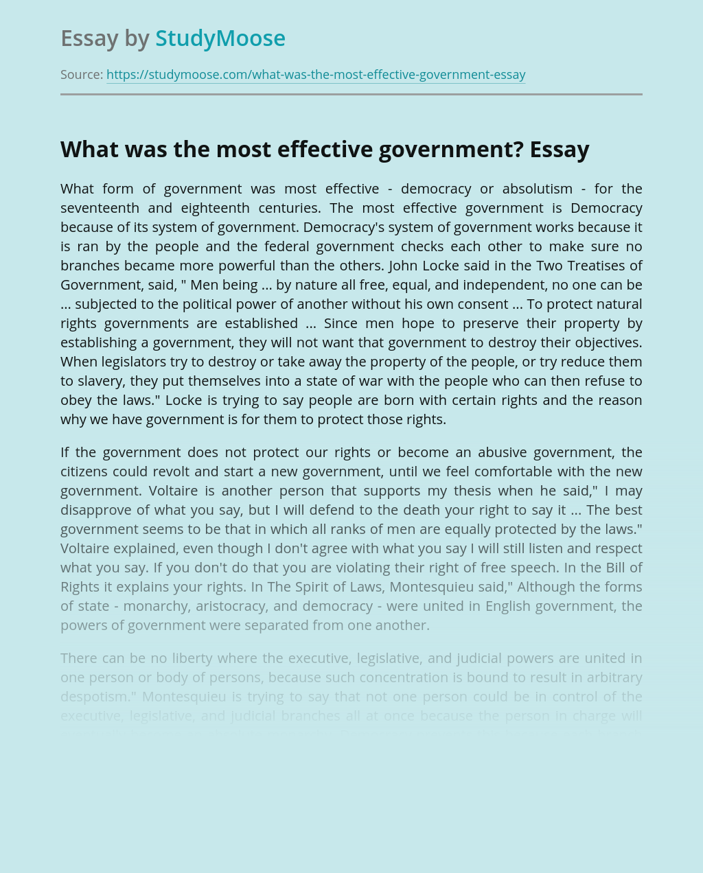 What was the most effective government?