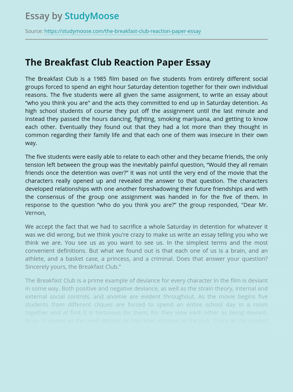 The Breakfast Club Reaction Paper