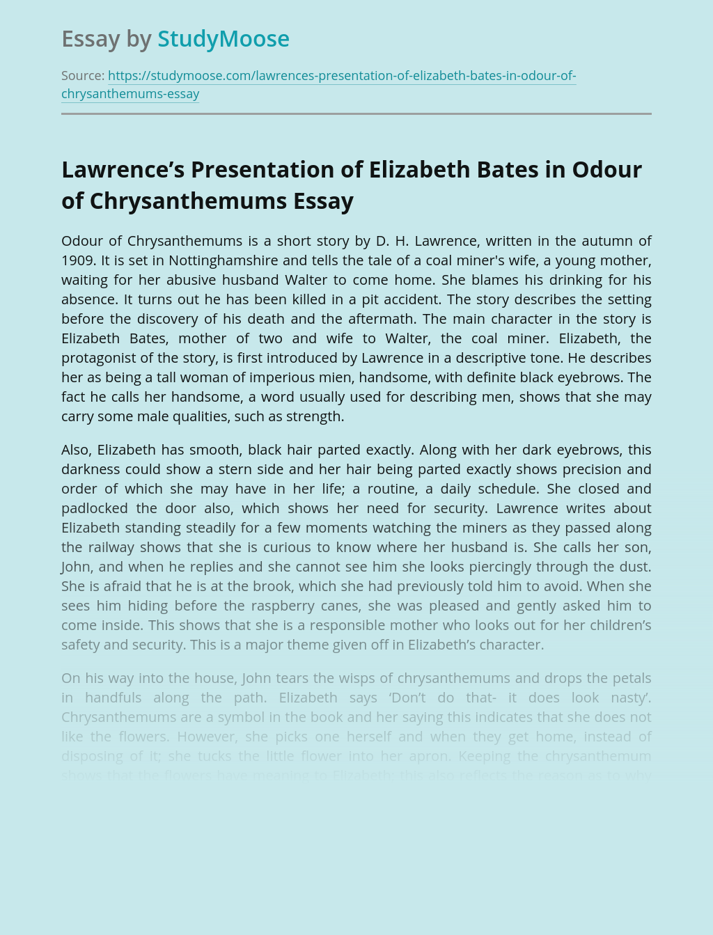 Lawrence's Presentation of Elizabeth Bates in Odour of Chrysanthemums