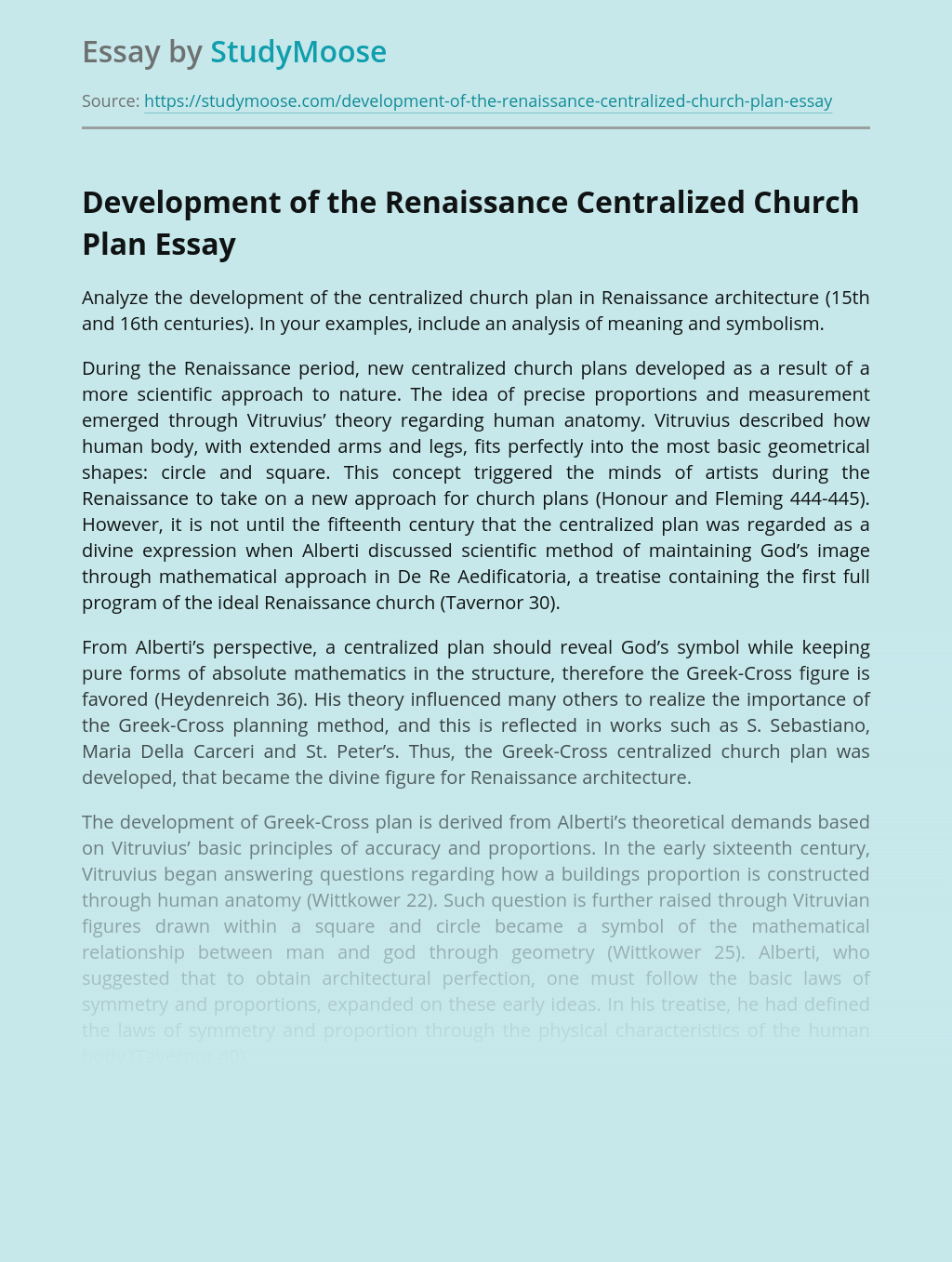 Development of the Renaissance Centralized Church Plan
